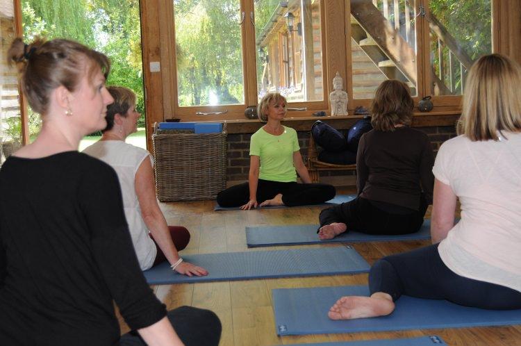 Sarah Church teaching Yoga at The Oaks, Guildford.