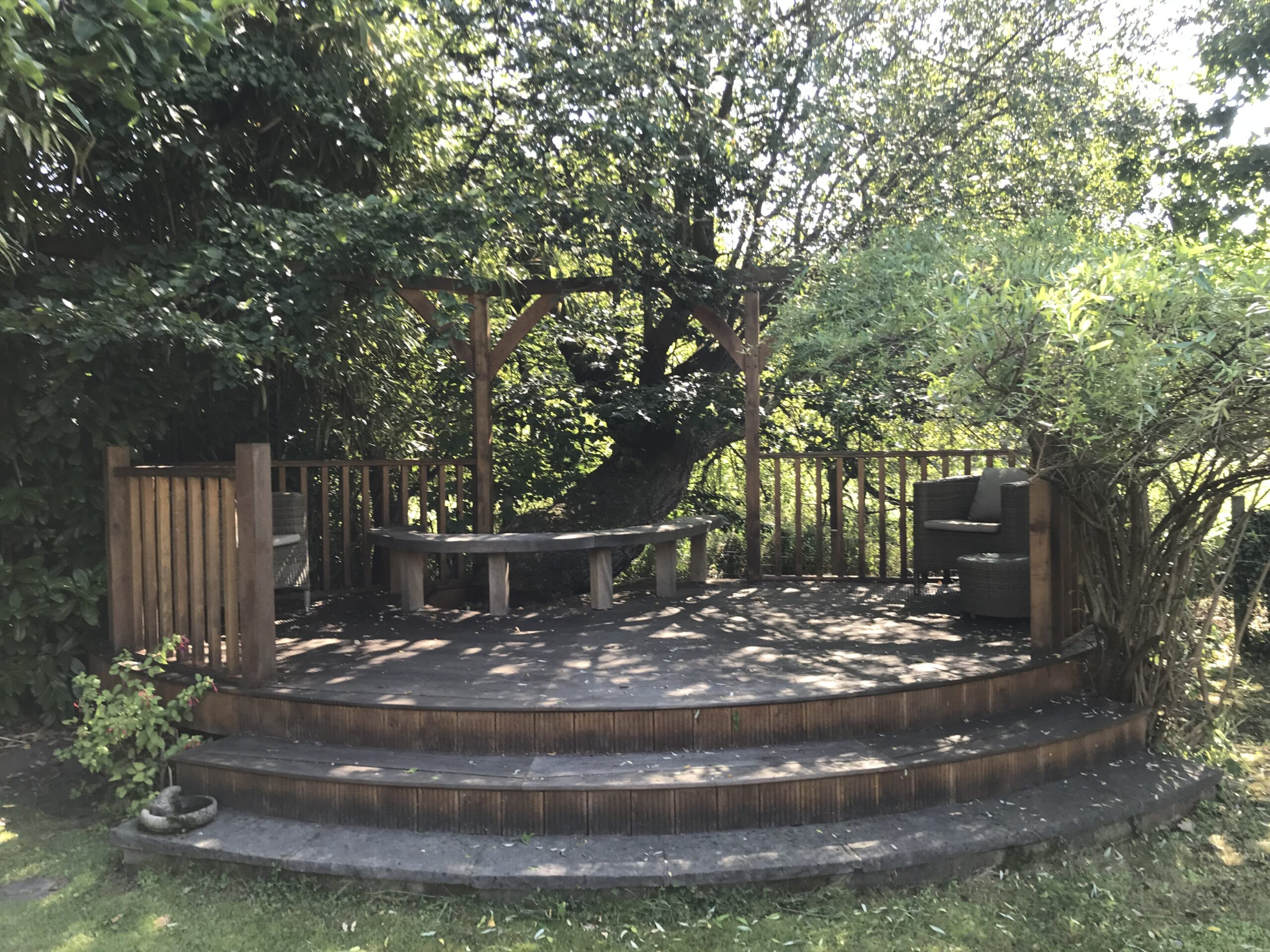 Quiet secluded garden area for Meditation at The Oaks in Guildford