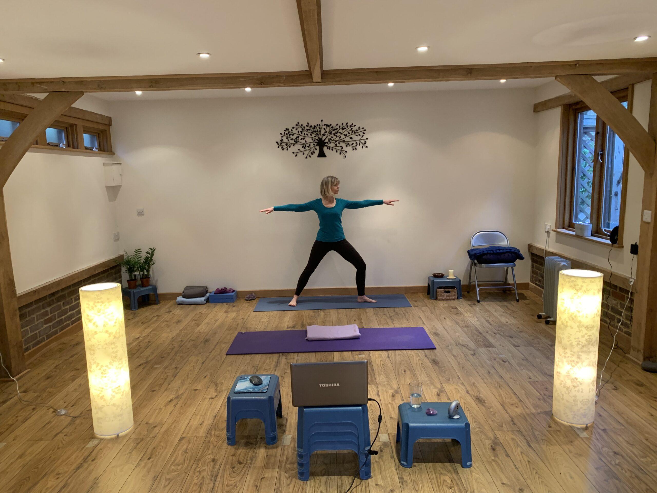 Sarah Church demonstrating Online Yoga in Guildford